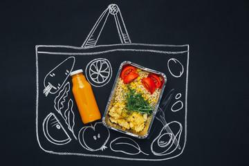Chalk drawn sketch shopping bag with healthy food