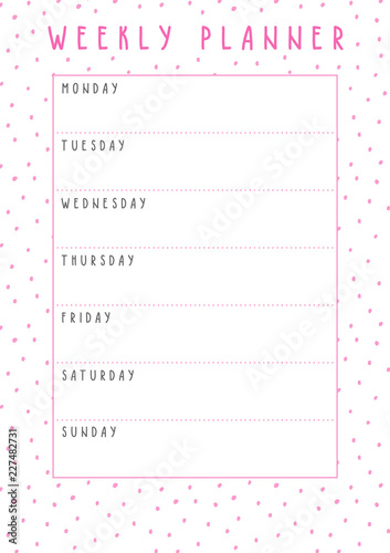 picture regarding Cute Weekly Planner Printable named Vector weekly planner in just lovely layout with polka dot behavior