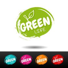 Wall Mural - Set of vegan food badges. Green life. Vector hand drawn labels.