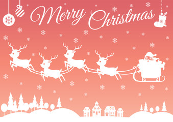 Set of characters cartoon cute Santa Claus and Reindeer attributes for winter holidays and Christmas, fly in the red and orange sky over on the white village and white forest, vector illustration.