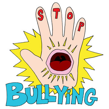 Stop Bullying Hand Shouting Mouth Words