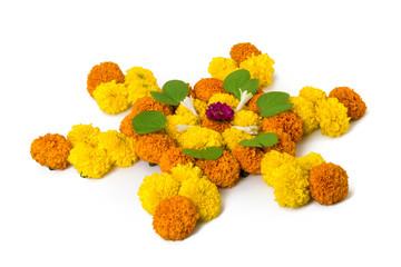 Dashera Festival apta leaf with marigold flower rangoli