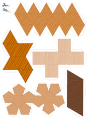 Paper models of the five platonic solids. Wooden textured templates to cut out and make five geometrical figures. Sample set with different textures.