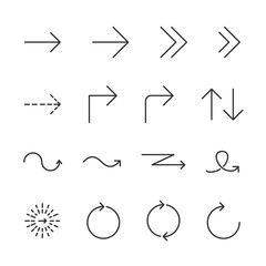 Vector image set arrow line icons.