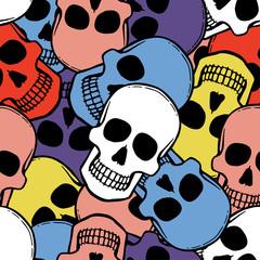 Seamless pattern with hand drawn skulls. Vector Illustration