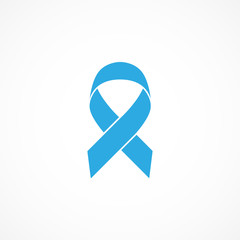 Vector image of prostate cancer awareness ribbon.Blue ribbon.
