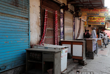 Closed meat shops are pictured in Gurugram