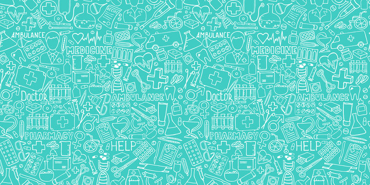 Medicine seamless doodle pattern for your design. Hand drawn Health care, pharmacy, medical cartoon background. Vector illustrations eps 10.
