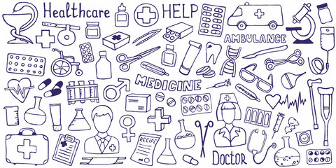 Medical concept - cross. The cutest doodle medicine icon set for your design. Hand drawn Health care, pharmacy, medical cartoon symbols. Vector illustrations eps 10.