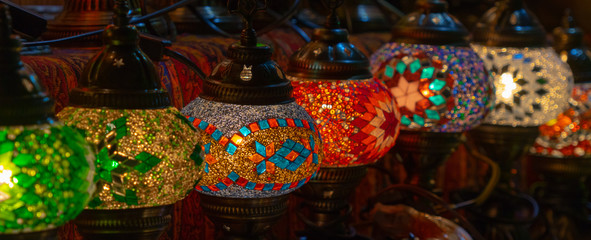 Colorful lamps at the bazaar.