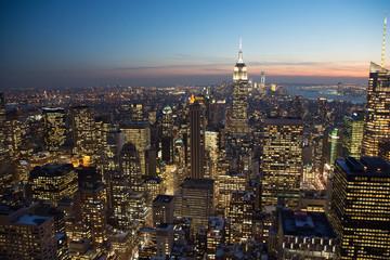 New York City skyline at dusk in fading light