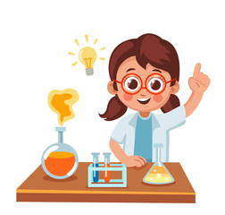 Cute little girl showing a result of a scientific experiment. chemical reaction. science for children cartoon vector illustration