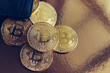 Bitcoin coins spilled out of the wallet