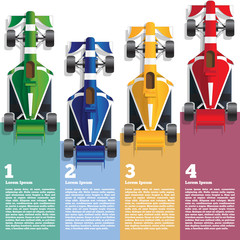 Sports cars. View from above. The template for the presentation. Vector illustration.