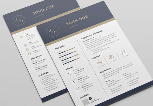 Resume Layout with Blue and Gold Header