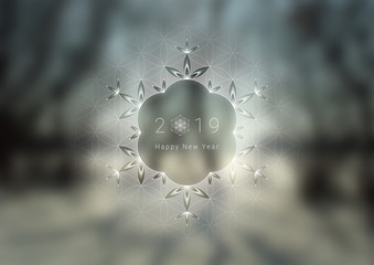 """Vector festive template with place for text; Spiritual sacred geometry; """"Flower of life"""" and crystal ice snowflake on fairytale winter photographic background; New year and Christmas."""