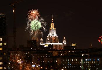 M. V. Lomonosov Moscow State University and holiday fireworks. Defender of the Fatherland Day. February 23, 2011