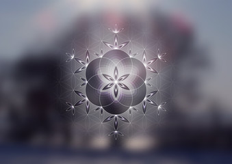 """Vector festive template; Spiritual sacred geometry; """"Flower of life"""" and crystal ice snowflake on fairytale winter photographic background; New year and Christmas; Yoga, meditation and relax."""