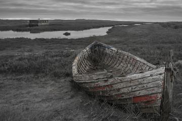 Old boat ruin on Norfolk Broads, UK