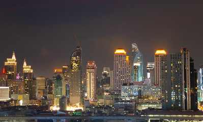 Cityscape light Bangkok city skyline Thailand