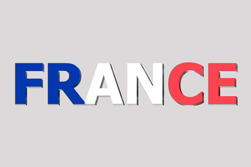 Flag of France on a text background.
