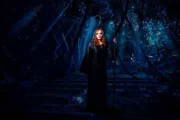 Wall Mural - Witch in night forest