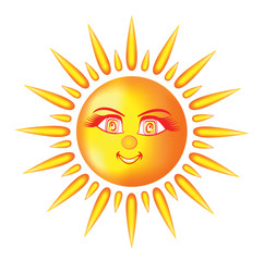 Smiling sun with kind eyes and rays of light
