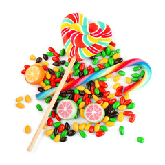 Mix colored candy isolated on white.