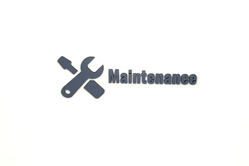 Text Maintenance with grey 3D illustration and light background