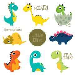 Estores personalizados infantiles con tu foto Set of little cute dinos