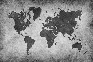 Wall Mural - World Map Paper Vintage Black & White