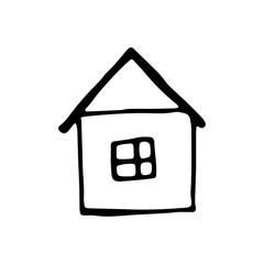 house drawing icon. sketch isolated object