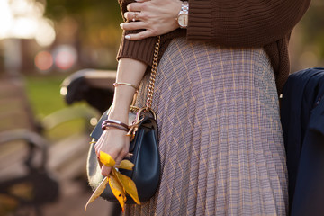 A beautiful fashionable woman is standing in an autumn park in a brown sweater and a long plaid skirt with a bag in her hands. Details