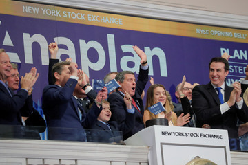 Anaplan, Inc. President and CEO Frank Calderoni rings the opening bell at the NYSE to celebrate his company's IPO in New York