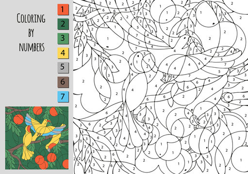 Coloring by number, education game for children. A challenge for junior schoolchildren.