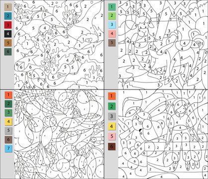 Set of colorings by number, educational game for children. A challenge for junior schoolchildren. Vector file contains a layer with the answers.