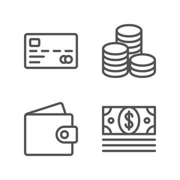 Simple Set of Money Line Icons (Wallet, Bundle of Money, Coins, Credit Card) Vector illustration. Eps10.