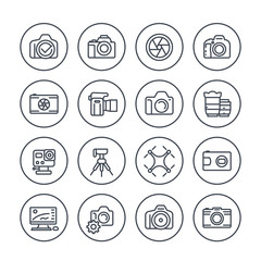 photography line icons set on white, mirrorless, action camera, lenses, drone photo, dslr, aperture, tripod