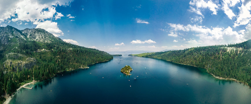 Drone panoramic view of the Emerald Bay in South Lake Tahoe California