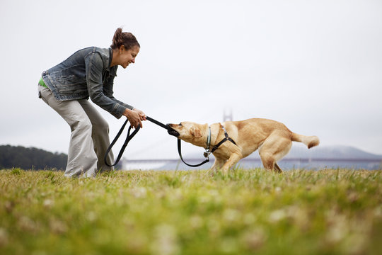 Woman playing with dog at Golden Gate Park, USA