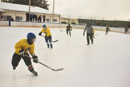 Boys playing ice hockey at rink