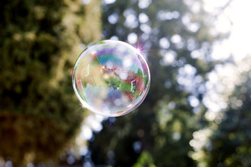 Close up of bubble in mid  air