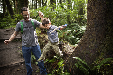 Father helping son to jump from rock in forest