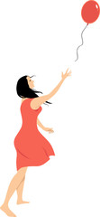 Woman letting go of a balloon as a metaphor for a psychological freedom, EPS 8 vector illustration
