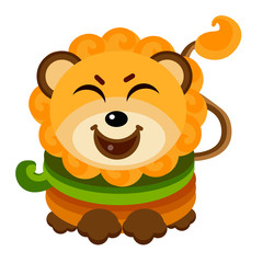 Cute Lion Face Emoticon Emoji Expression Illustration - Smile