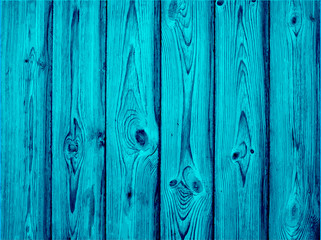 Vector old wooden painted background in turquoise color.