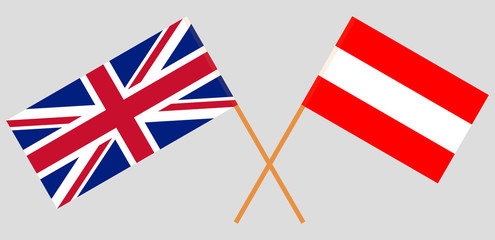 Austria and UK. Austrian and British flags. Official colors. Correct proportion. Vector
