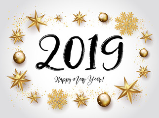 2019 with golden Christmas stars, snowflakes, lettering on a white background. Happy New Year card design. Vector illustration