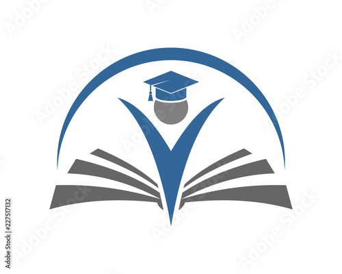 Vector Happy People with Graduation Hat and Book School Sign
