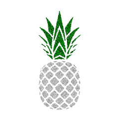 Pineapple with green leaf. Tropical silver exotic fruit isolated white background. Symbol of organic food, summer, vitamin, healthy. Nature logo. Design element silhouette icon. Vector illustration